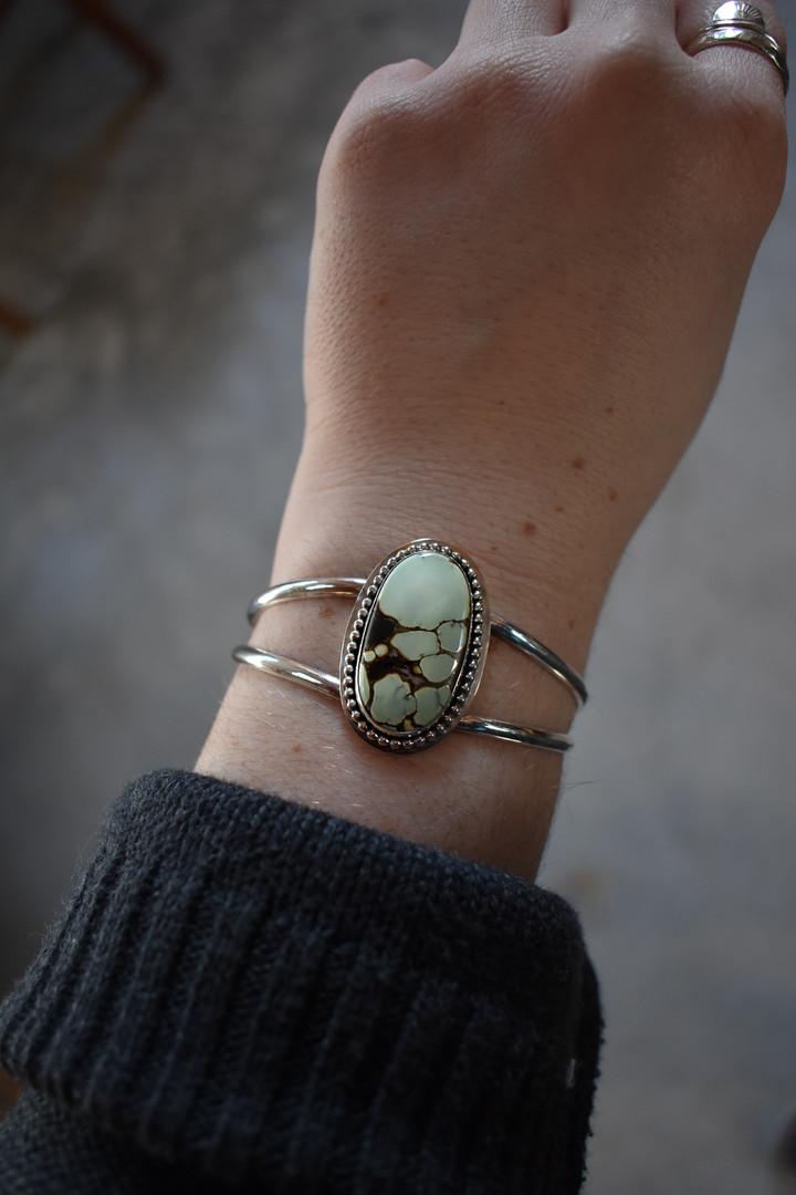 Poseidon Variscite Sterling Silver Cuff Bracelet