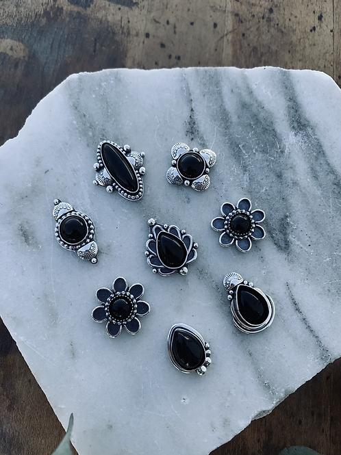 Small, Everyday Black Onyx Rings