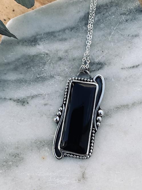 RESERVED for Sam : Black Onyx Rectangular Statement Necklace