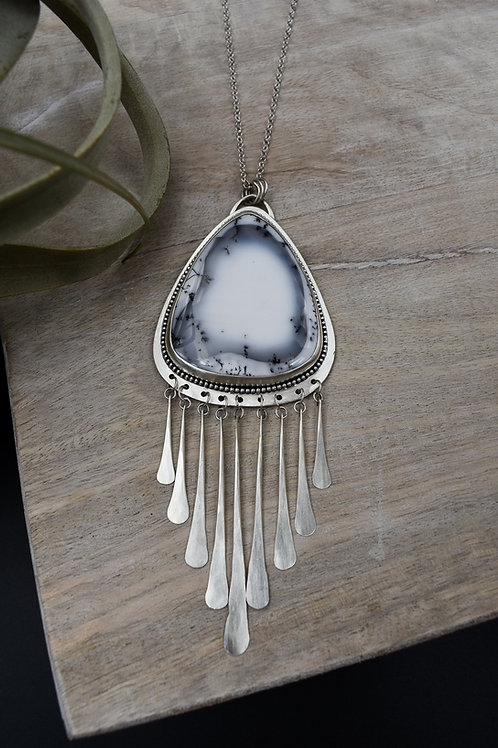 "Dendritic Opal Tassel Necklace (26""-28"")"