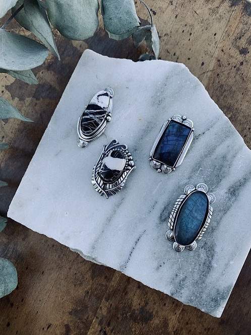White Buffalo Turquoise+ Labradorite Statement Rings (only ONE of each style)