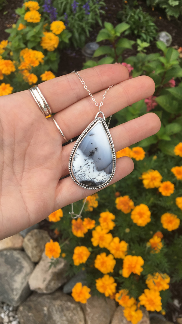 Teardrop Dendritic Opal Sterling Silver Necklace