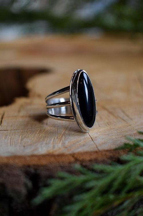 Oblong Black Onyx Ring (size 7.5-7.75)