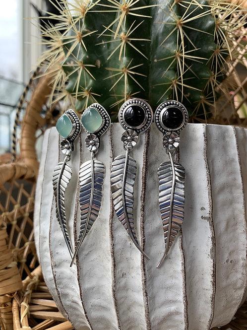 Circular Black Onyx Leaf Stud Earrings