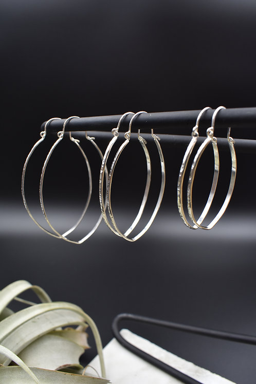 Sterling Silver Oblong Hoops