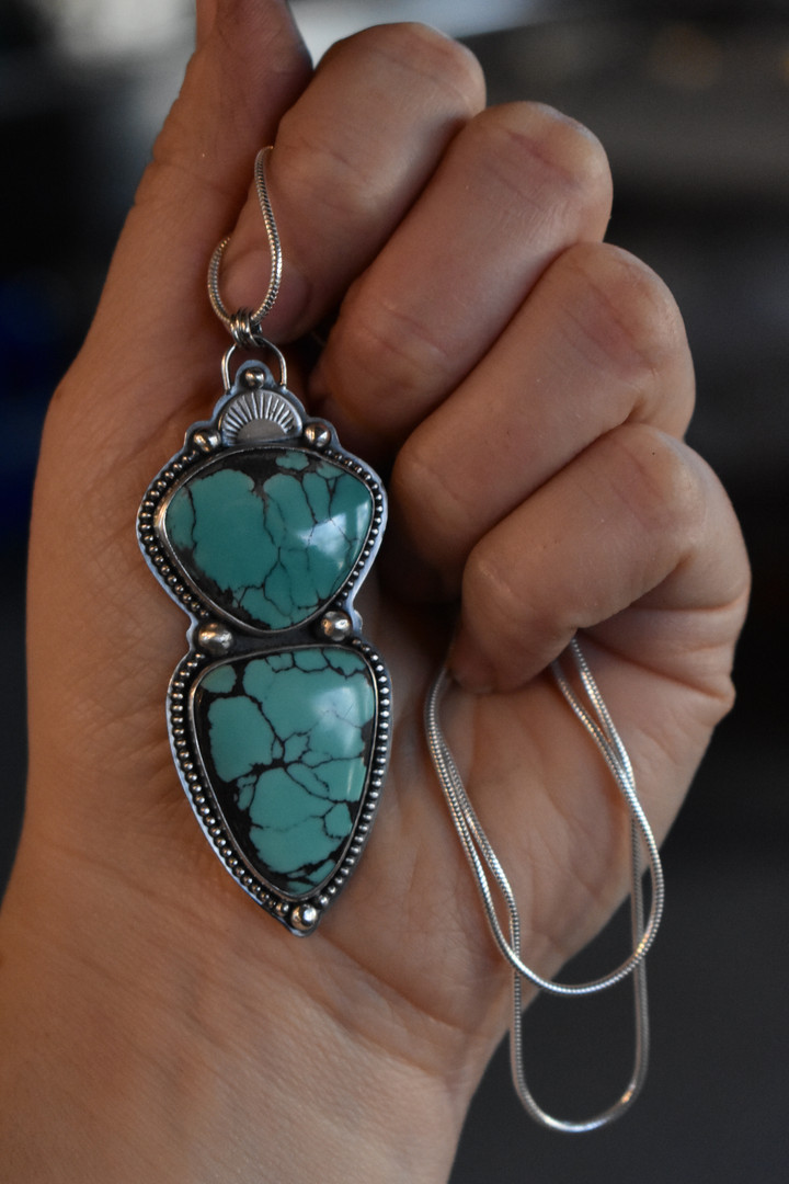Hubei Turquoise Sterling Silver Necklace