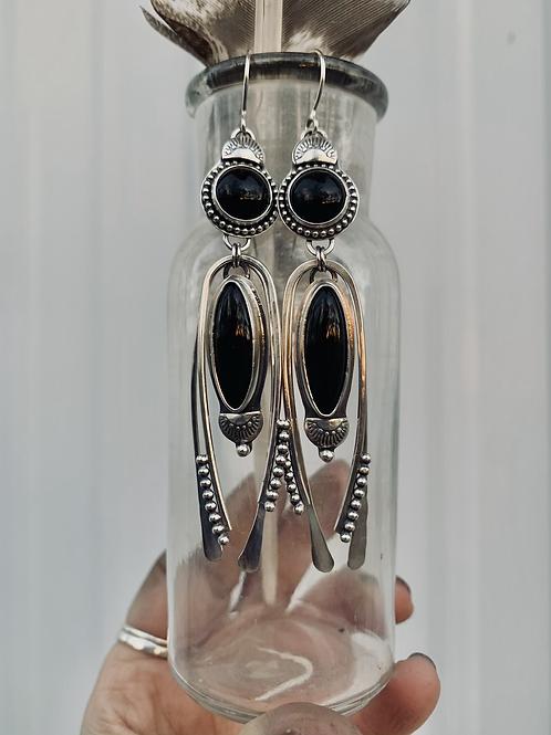 Double Black Onyx Earrings
