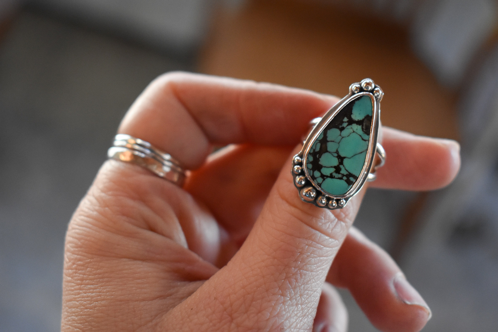 Hubei Turquoise Sterling Silver Ring