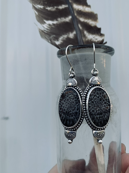 Black Fossil Coral Earrings