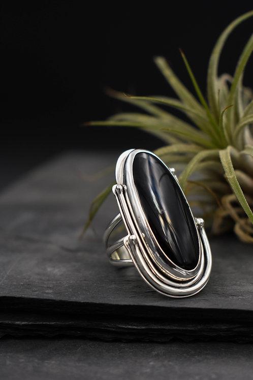 Large Oval Black Onyx Ring (size 7.5-7.75)