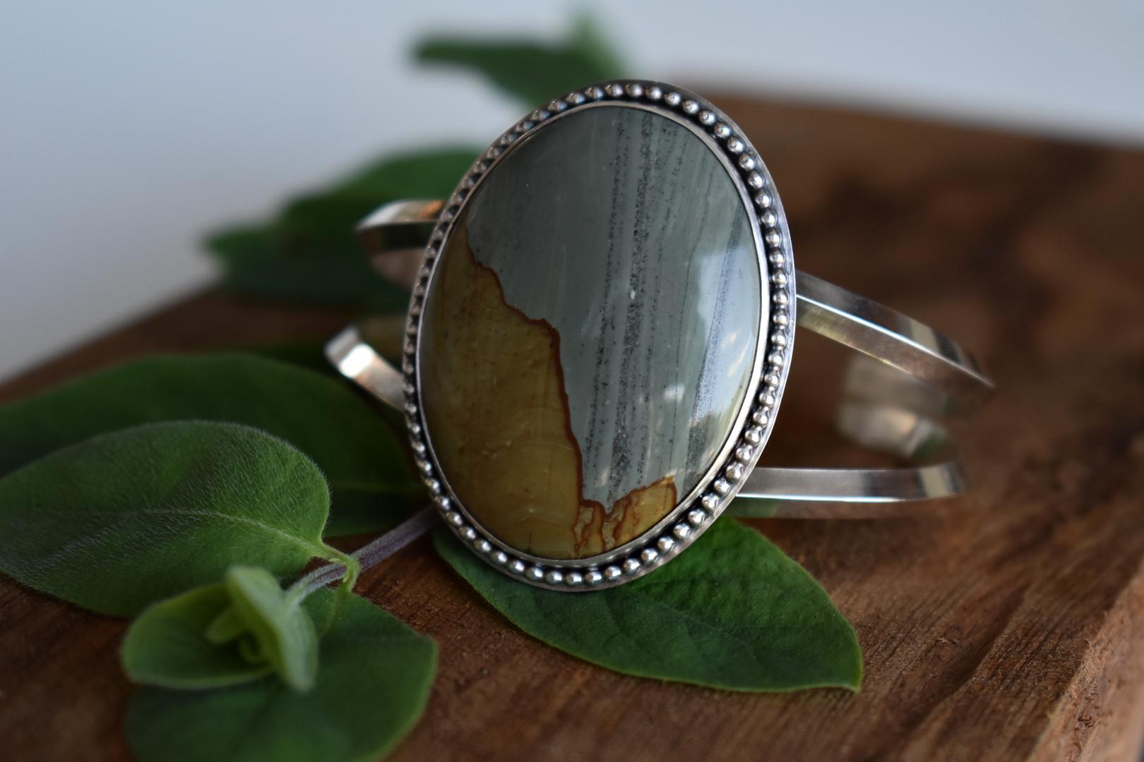Landscape Jasper Sterling Silver Cuff Bracelet