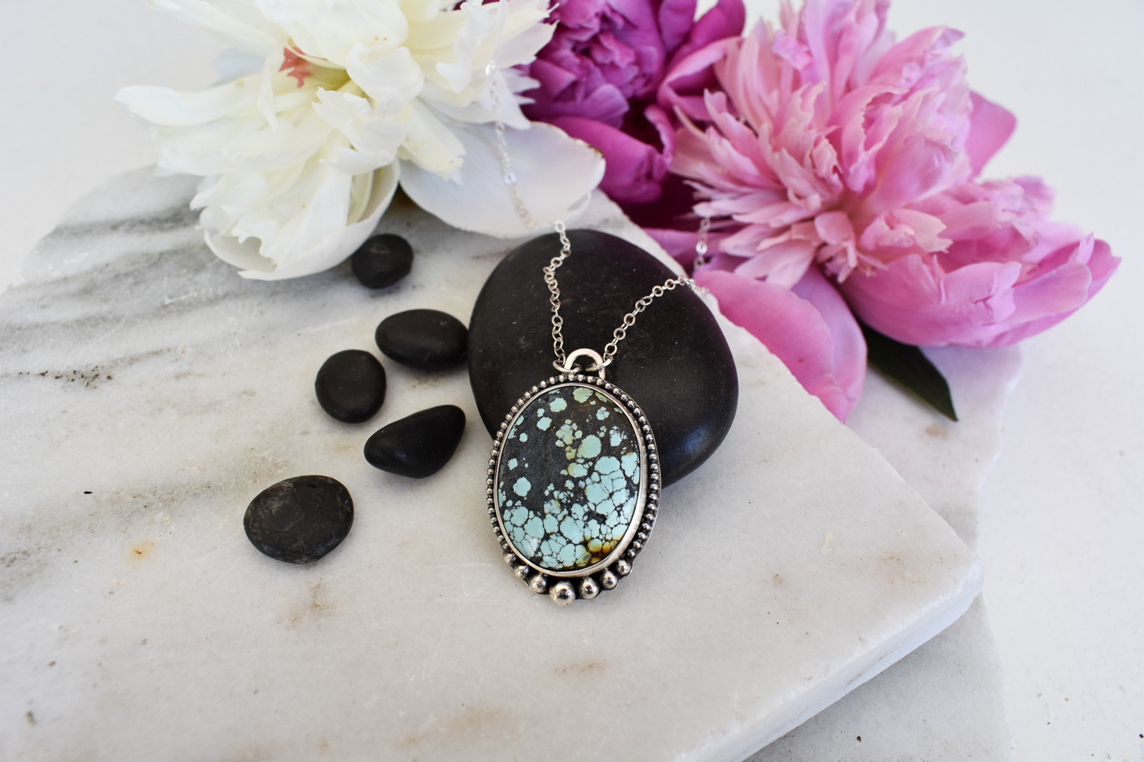 Oval Chinese Turquoise Sterling Silver Necklace