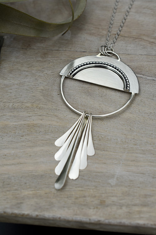 Half Moon Tassel Sterling Silver Necklace