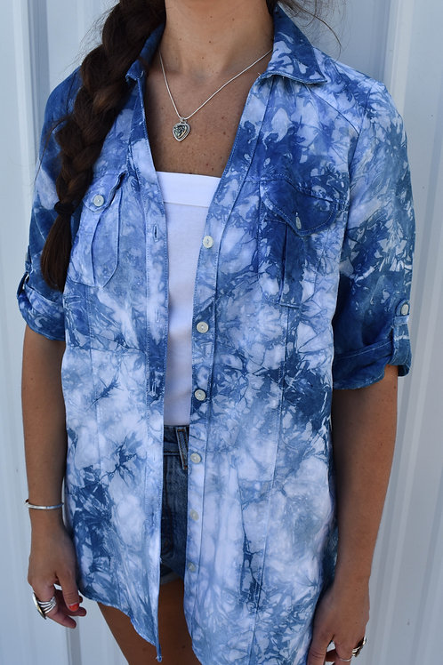 Upcycled Button Up : Indigo