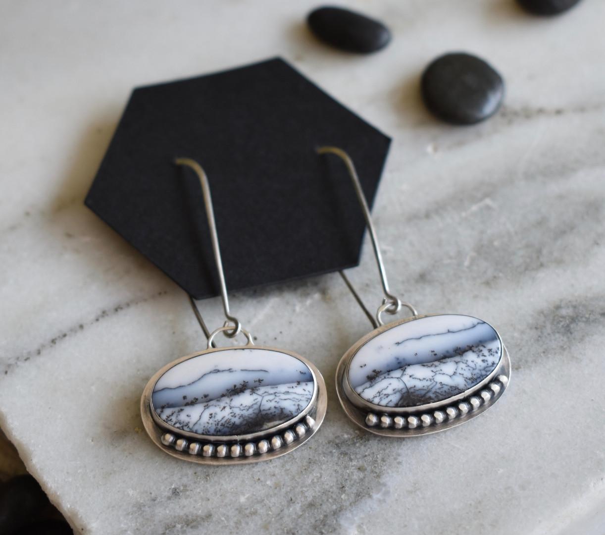 Landscape Dendritic Opal Earrings