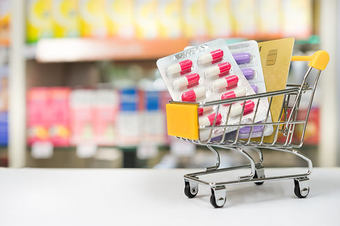 Shopping trolley with blisters of medica