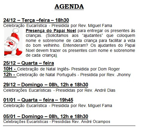 Agenda: Celebrações de Final do Ano