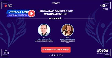 """#Live: """"Histórias para alimentar a Alma"""" com o Rev. Aldo na UNINOVE"""