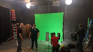 Preparing to shoot the trailer