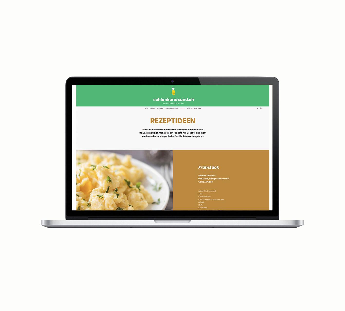 Webseitengestaltung/Aufbau für Schlank und Xund, Tina Geuss Dittingen