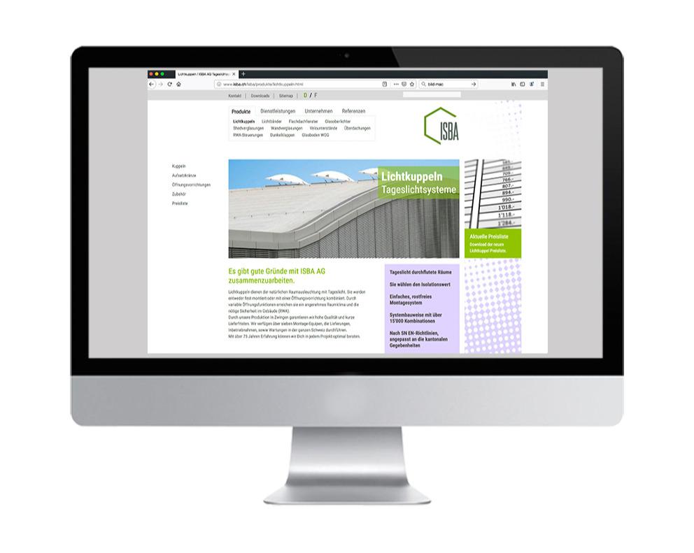 Webseite ISBA AG Zwingen