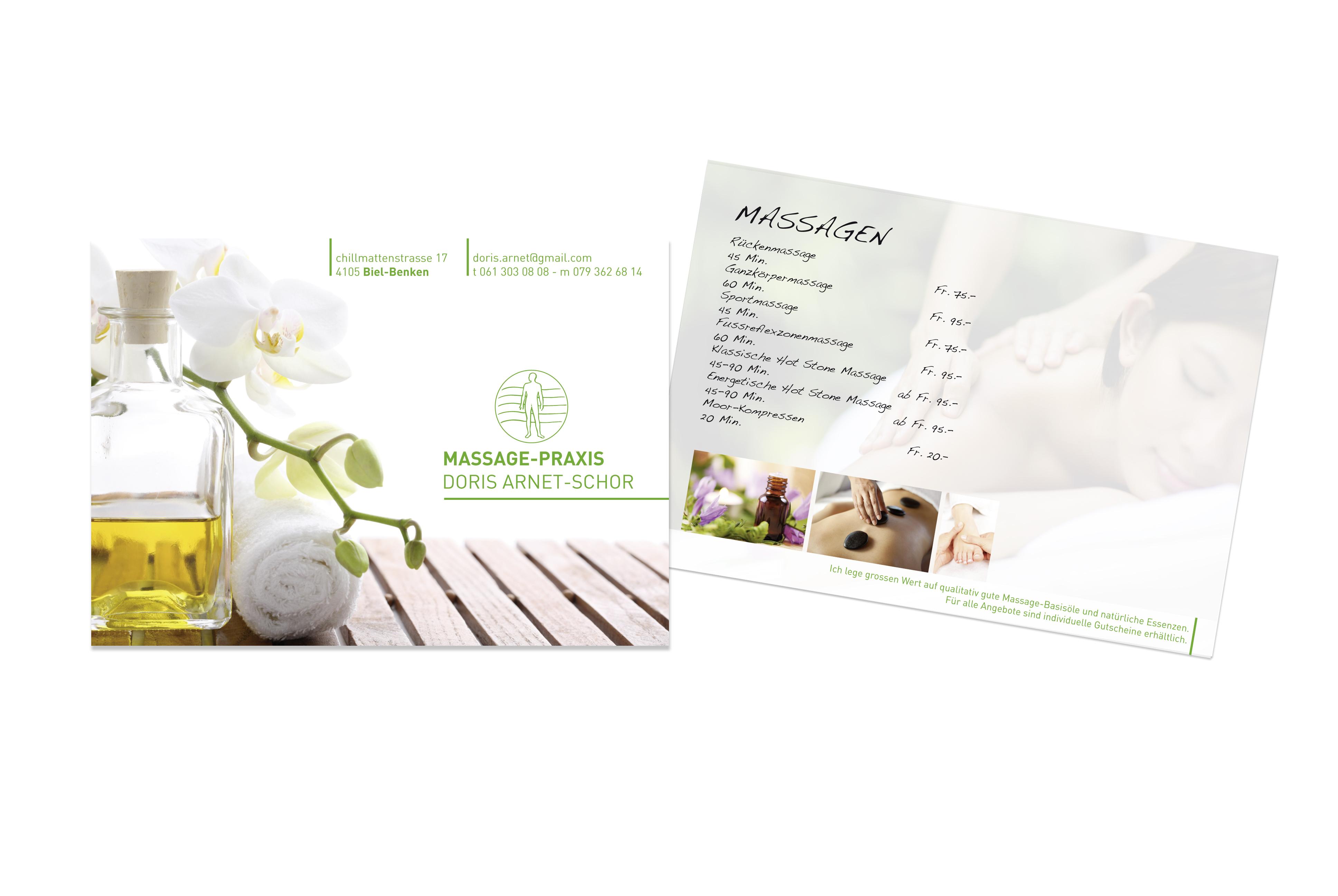 Flyer für die Massagepraxis Doris Arnet, Biel Benken