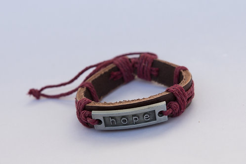 Leather and Metal 'Hope' Bracelet