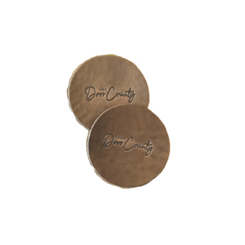 Natural Door County Leather Coasters