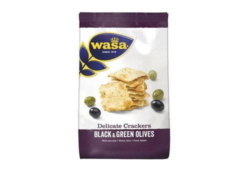 """Ploni krekeriai su juodosiomis ir žaliosiomis alyvuogėmis ,,Wasa"""""""
