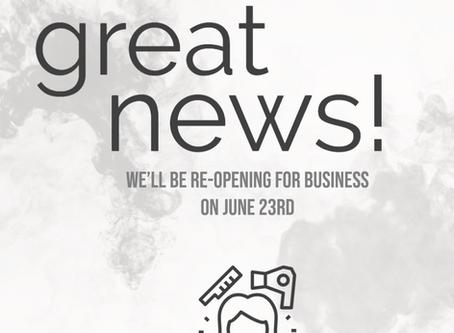 Salon Reopening Update!