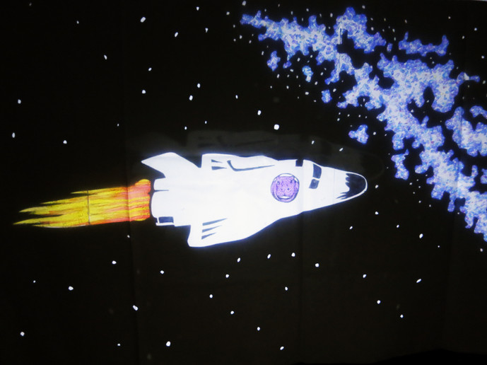 宇宙カバ影絵写真