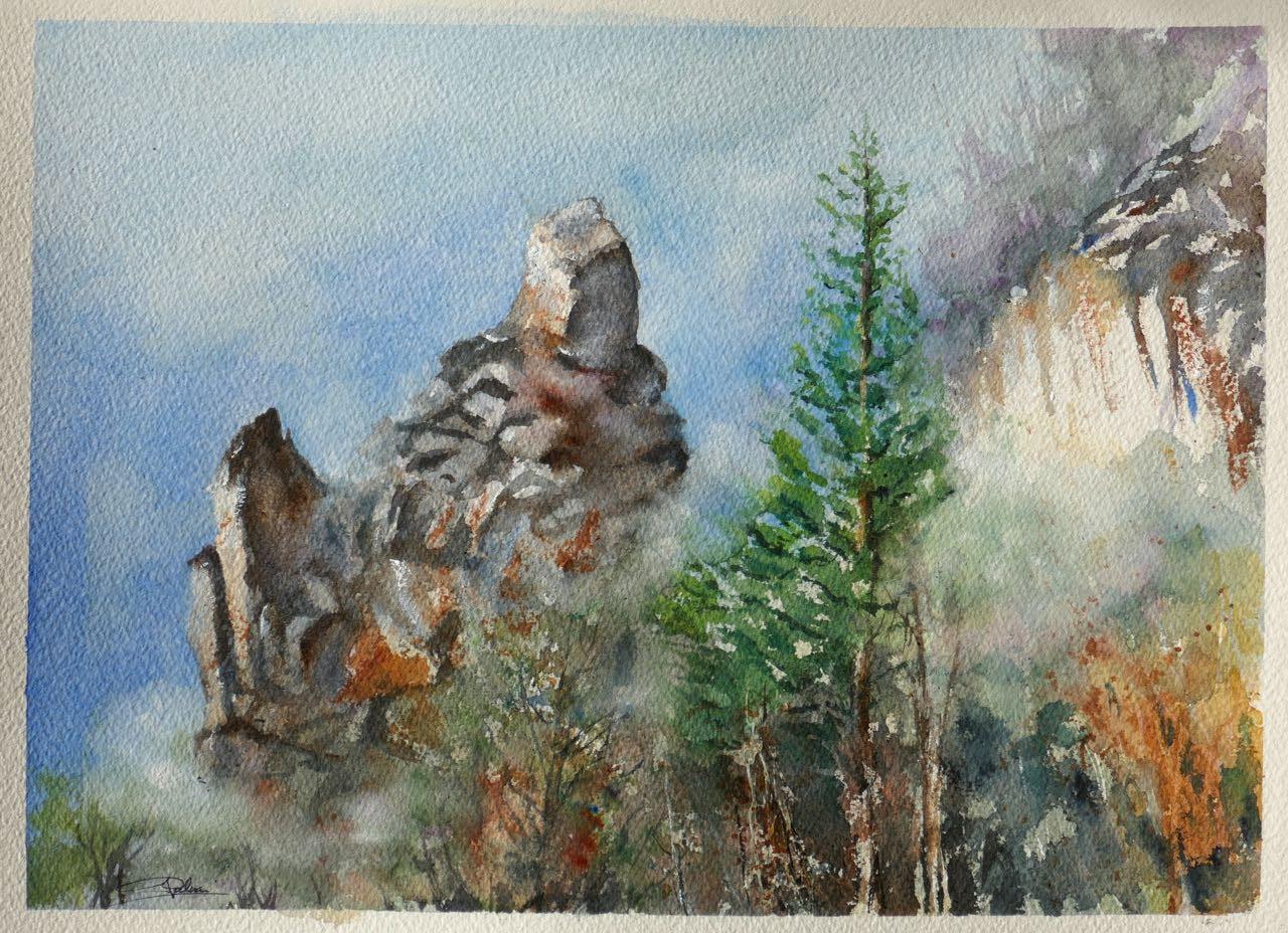 Rochers dans la brume matinale