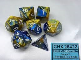 Gemini Blue-Gold/White 7 Die Set