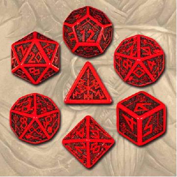 Dwarven 7 Dice Set - Red/Black