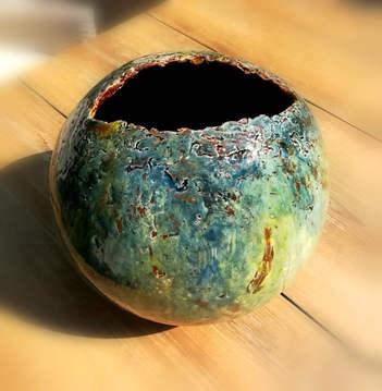 """Vase """"oiseau"""" bleu vert, 28cm de diamètre"""