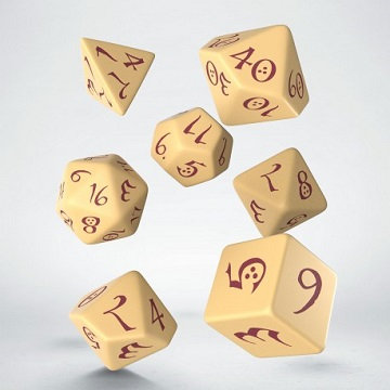 Classic 7 Dice Set - Beige/Burgundy