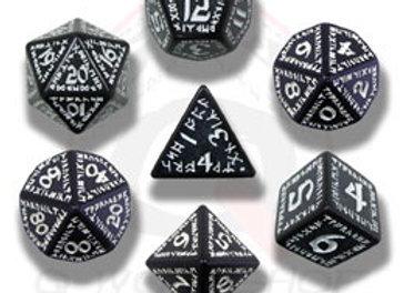 Runic 7 Dice Set - Black/White