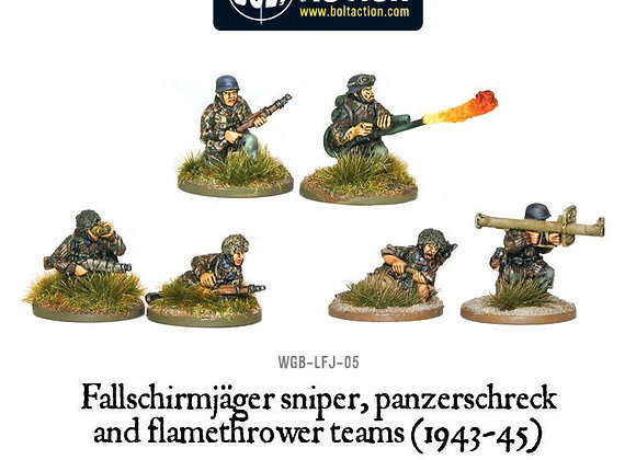 Fallschirmjager Panzerschrek, sniper and flamethrower teams