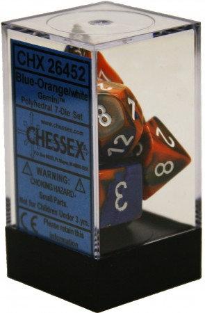 Gemini Blue-Orange/White 7 Die Set - 26452