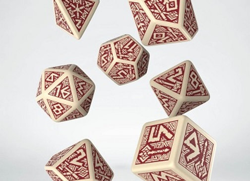 Dwarven 7 Dice Set - Beige/Burgundy