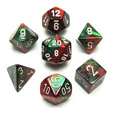 Gemini Green-Red/White 7 Die Set - 26431