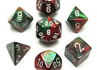 Gemini Green-Red/White 7 Die Set - 26431
