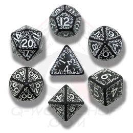 Elven 7 Dice Set - Black/White