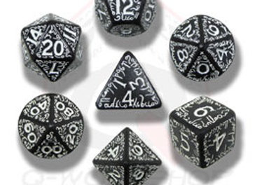 Elven 7 Dice Set - Black/White