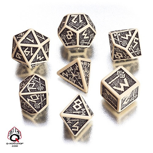 Dwarven 7 Dice Set - Beige/Black