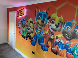 Wall wrap with LED lit Sign on stand off fixings