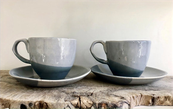 Two Tone Cup and Saucer - Pair