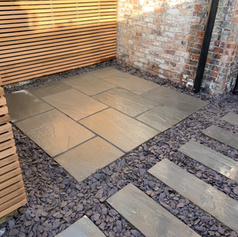 Grey Idian patio in blue slate