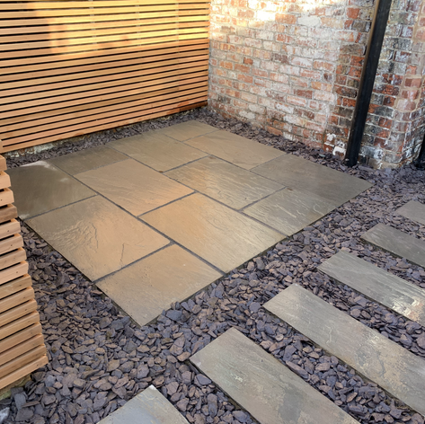 Grey Idian patio in blue slate