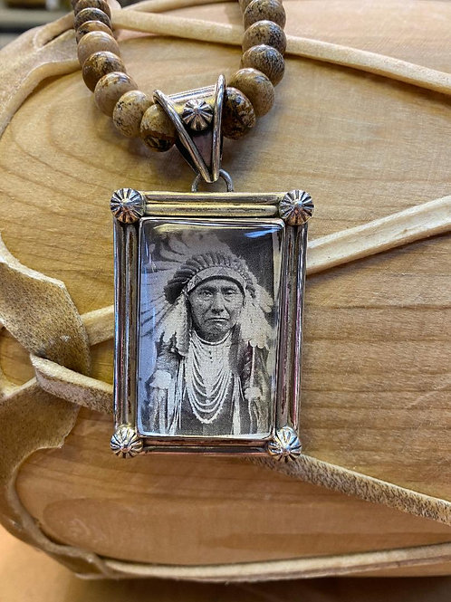 Photo Pendant on Sand Jasper Necklace